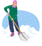 Young cheerful woman cleans the road from snow
