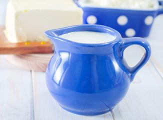 milk in blue jug