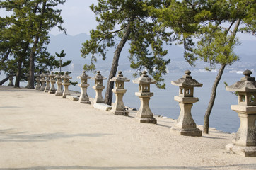 Row of stone lanterns in Japan