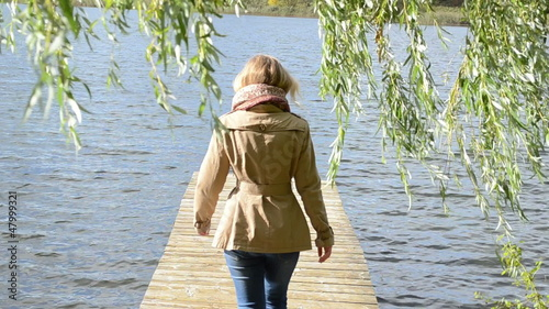 woman walk wood lake bridge willow tree swan bird meet angry