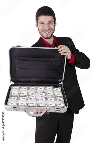 Businessman full of cash