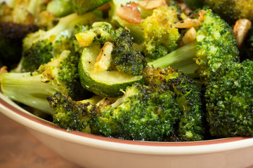 Italian broccoli with zucchini, garlic and olive oil