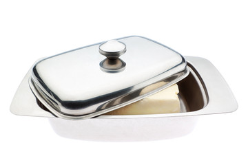 Butterdish close up. On a white background.