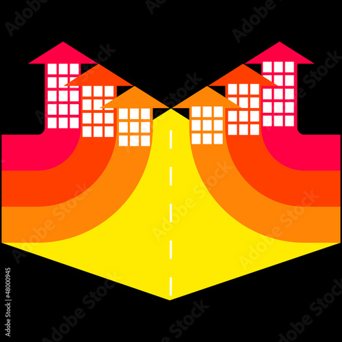 City streets with buildings - arrows, vector