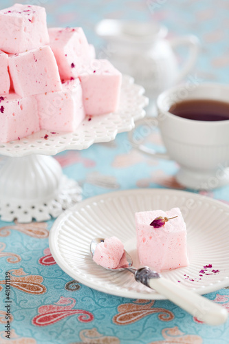 Homemade vanilla and rosewater marshmallows, selective focus