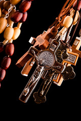 crosses on black background