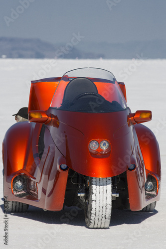 Racing motor bike in Bonneville Salt Flats