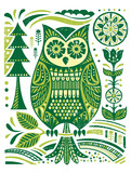 Ornate Woodblock Style Owl