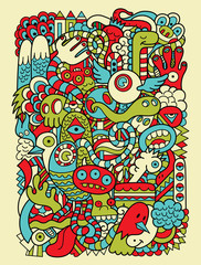 Hipster Doodle Monster Collage Background