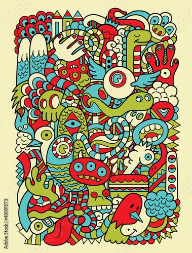 Hipster Doodle Monster Collage Background