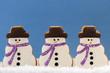 Snowmen Cookies on Blue