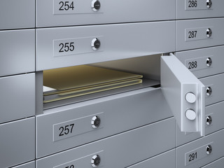 Safety deposit boxes with documents