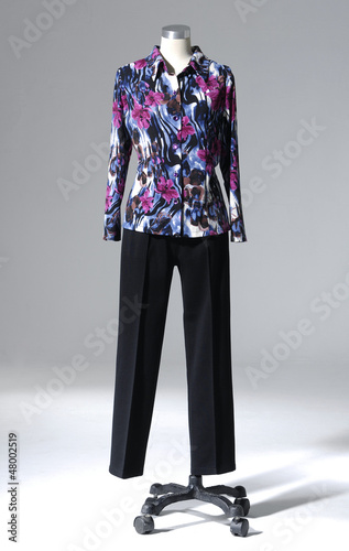 full-length Stylish dress and trouser on a mannequin