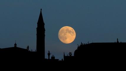Italy Venezia Piazza San Marco moonrise