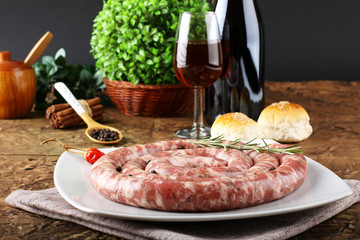 Sicilian raw sausage with pepper and rosemary