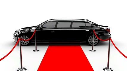 A luxury black car and a red carpet