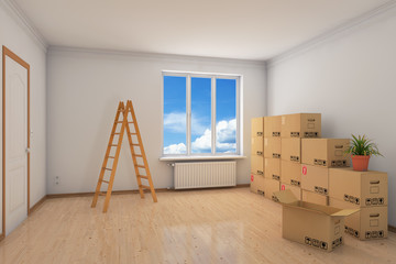 Zimmer beim Umzug mit Leiter und Umzugskartons