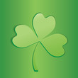Clover icon isolated on green background.