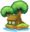 A house and a tree on an island