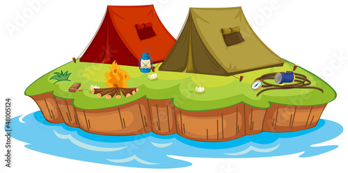 Base camp on an island