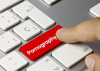 Pornography keyboard key. Finger