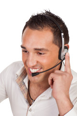 Friendly male receptionist or call centre operator
