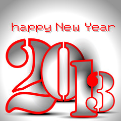 Happy new year card design wtih stylest text in grey color.