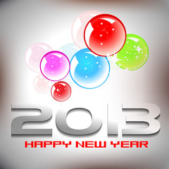 Happy new year 2013 design wtih color ful  shiny bubles.