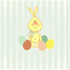 vector illustration of easter bunny with colorful egg