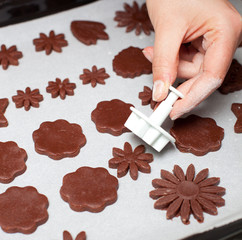 Chocolate cookies shaped flower