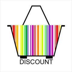 DISCOUNT barcode Shopping basket, vector