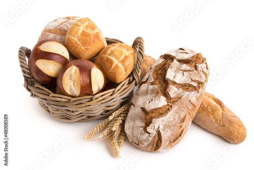 Leinwanddruck Bild Brot und Brötchen