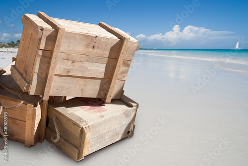Supplies on tropical beach