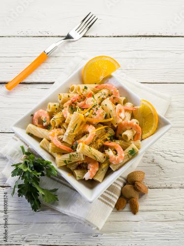 pasta with shrimp orange peel and almond