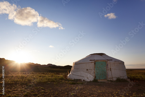 Dawn in a Ger. Mongolia