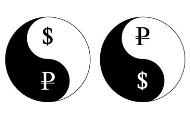 Yin-Yang currency symbols, ruble-dollar, vector