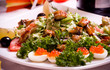 Tasty salad with roasted meat and vegetables