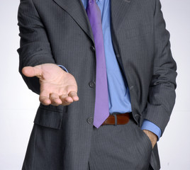 Hombre de negocios dando la mano,pidiendo,saludando.