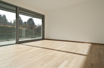 interior, big window, new empty apartment