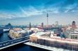 Leinwandbild Motiv Berlin Skyline Winter City Panorama with snow and blue sky