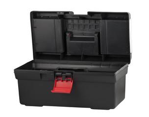 Black plastic box for tools