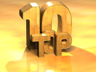 3D Word Top 10 on yellow background