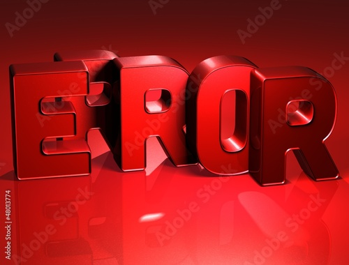 3D Word Error on red background