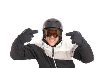 Skifahrer aggressiv freigestellt
