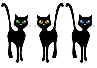 Gatti neri stilizzati con grandi occhi realistici colorati