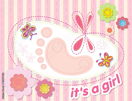vector background with congratulations on the birth of a girl