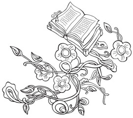 vector drawing plants with flowers and old books