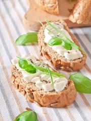 sandwich with cream cheese, basil and green garlic