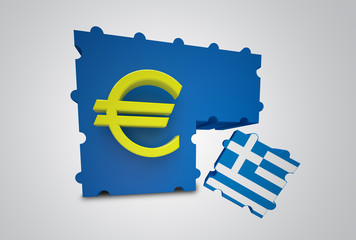 Puzzle showing Greece removed from the Euro Currency Union