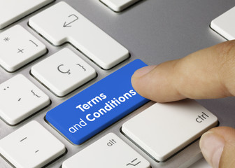 Terms and conditions keyboard key. Finger